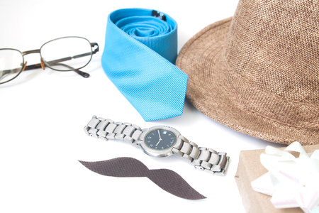 Man's accessories and gift box, Father's Day, Holiday concept