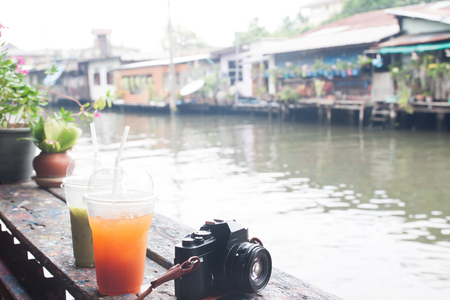 Summer tropical drink with canal in background, Travel Asia and Tropical summer concept Stock Photo
