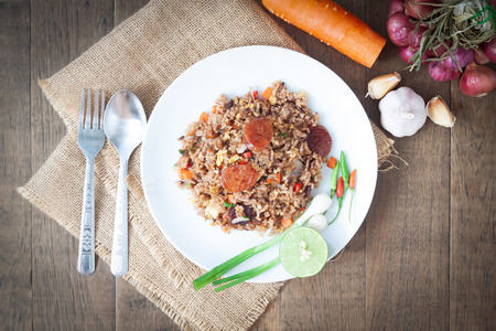 Spicy fried rice with Thai sausage, Thai food, Healthy food