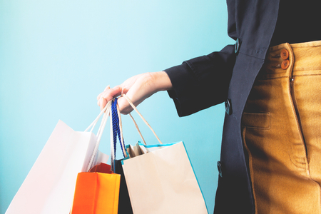 Close up woman hands with shopping bags, Shopping, Black Friday