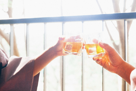 Close up couple's hands clinking glasses of whisky