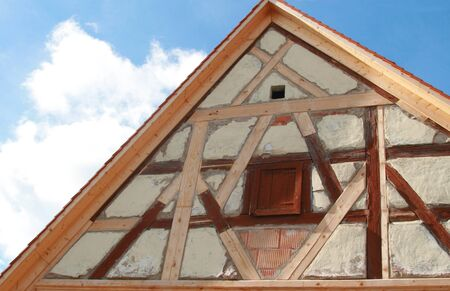 restauration: restoration of a historic timber-framed house, Germany, Bavaria, Franconia Stock Photo