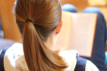 young woman with a ponytail on a sofa, reading a book, rear view Stock Photo