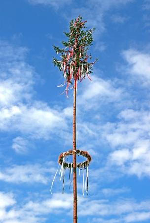 在蓝色和白色天空前面的装饰的maypole树