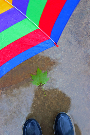 person with rubber boots and a multi colored umbrella is standing in a puddle Stockfoto