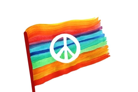 peace sign on a rainbow colored flag, watercolor painting with white background and copy space