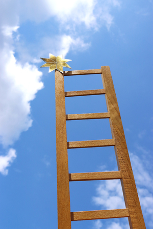 reach for the stars, ladder whith a golden shimmering star on top,  leading up to the sky