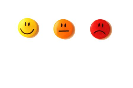 satisfaction scale represented by three smileys (smiling, neutral, sad) on a white background