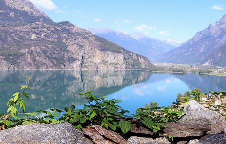 Panoramic view of a beautiful and tranquil mountain lake, green plant in the foreground, nature background with copy space