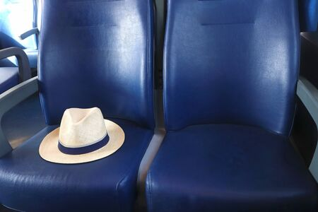 summer vacation, travel by train, symbolic picture with a classic straw hat on blue train seats