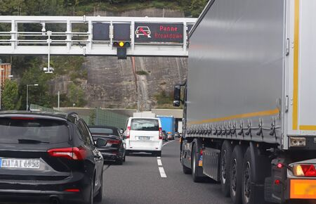 traffic jam on a highway because of a breakdown in a tunnel