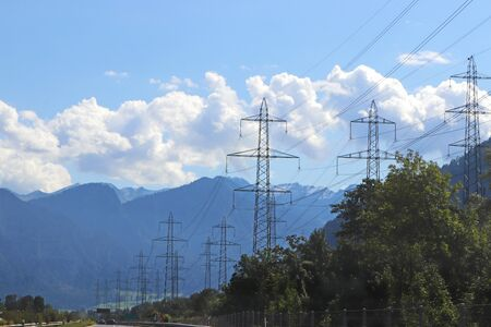 overhead line route beside a highway in Switzerland