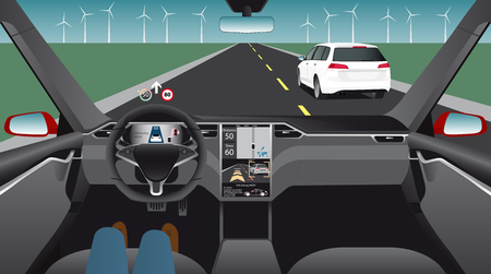 Driverless electric car. Autonomous self driving mode. Head-up display. Vector illustration Illustration