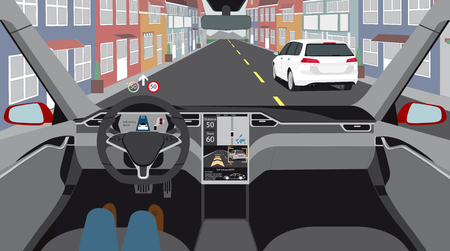 Driverless electric car on a city street. Autonomous self driving mode. Head-up display. Vector illustration Illustration