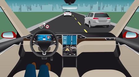 無人電動車。自律自己走行モード。ヘッドアップ ・ ディスプレイ。ベクトル図