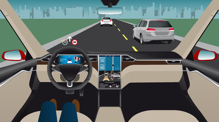 Driverless electric car. Autonomous self driving mode. Head-up display. Vector illustration Çizim