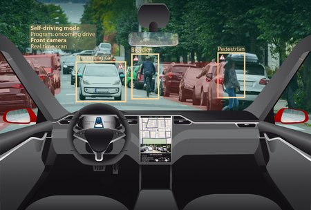 Driverless electric car. Autonomous self driving mode. Head-up display.