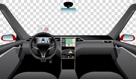 Interior of self driving car with navigation, main and head up displays. Vector illustration Ilustração