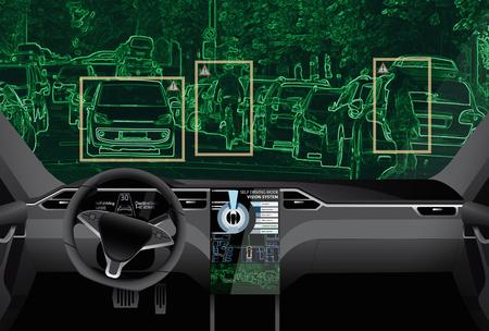 Auto-dirigindo carro em uma estrada. Inteligência artificial do veículo.