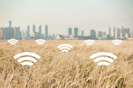 A field of wheat on the background of the modern city. Digital technologies in agriculture. Smart farming concept Stock Photo - 89326565