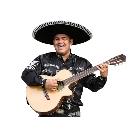 Mexican musician mariachi. Isolated on white background Stock Photo