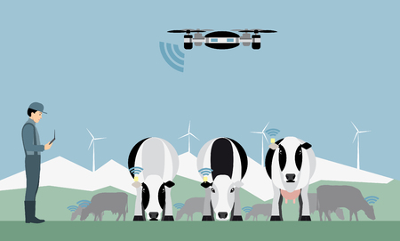 Farmer with drone counts cows. Robot shepherd. Internet of things in agriculture. Vector illustration Illustration