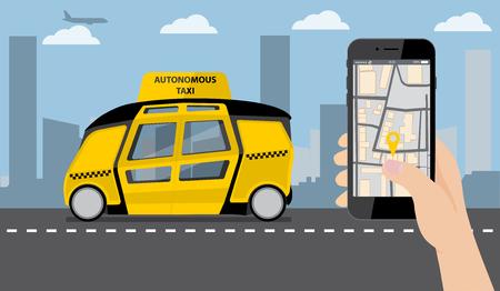 """De la mano con el teléfono. En la aplicación de pantalla del dispositivo para pedir un taxi. En el fondo, un autobús autónomo con un logotipo """"Taxi autónomo"""". Ilustración vectorial Logos"""