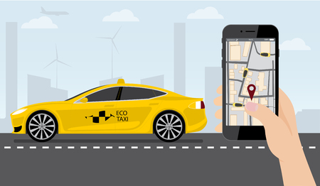 Hand with phone. On the device screen application for ordering a taxi. In the background, an electric car with a logo