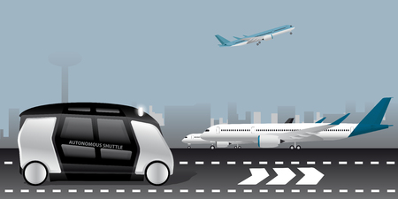 Autonomous shuttle at the airport. Vector illustration