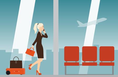 Autonomous robot suitcase follows the woman traveler in airport. Vector illustration. Illustration