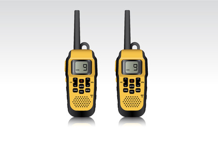 Realistic walkie talkie waterproof devices. Vector illustration. Illustration