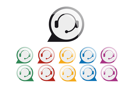 Support service and telemarketing vector icon set. Illustration