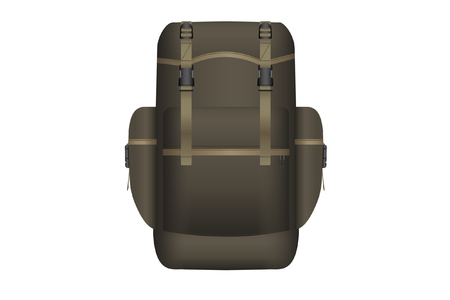 Realistic khaki backpack for hunting and travel. Isolated on white background. Vector illustration. Çizim
