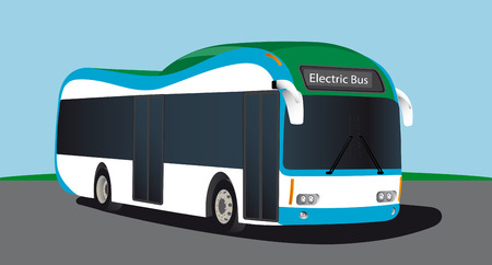 Electric vehicle bus. Alternative sources of fuel. Vector illustration