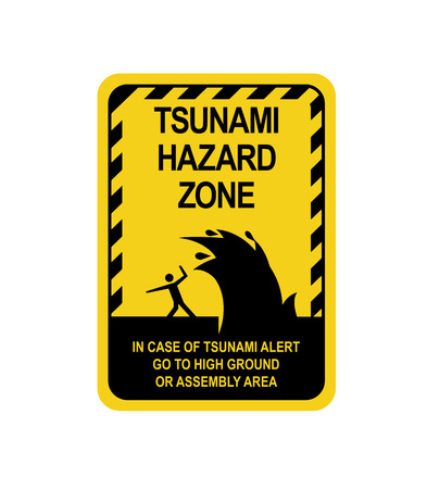 Sign warning of a tsunami. Isolated on white background. Vector illustration