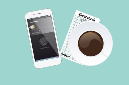Phone with app for pay with touch identification. Check payment in cafe. Vector illustration
