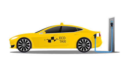 Yellow electric car with logo eco taxi charging on a charger station. Vector illustration