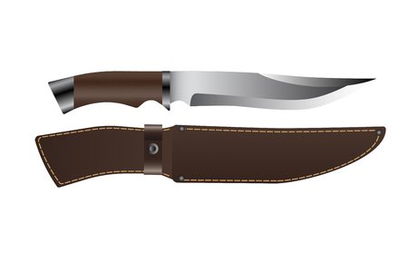 Realistic hunting knife with wooden handle and lather scabbard. Isolated on white background. Vector illustration.