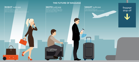 Businesswoman with robot suitcase, elderly woman on a moto bag and a businessman with a smart case in the airport terminal at the counter baggage drop-off. The future of luggage. Vector illustration. Stock Illustratie