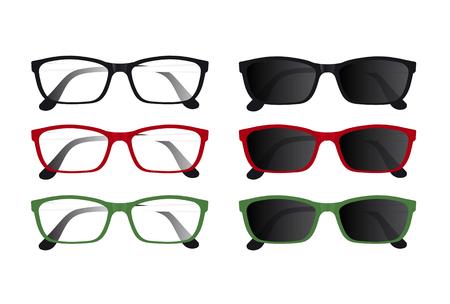 Set of multicolored glasses. Vector illustration