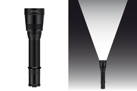 Realistic waterproof flashlight for hunting and travel. Vector illustration. Vettoriali