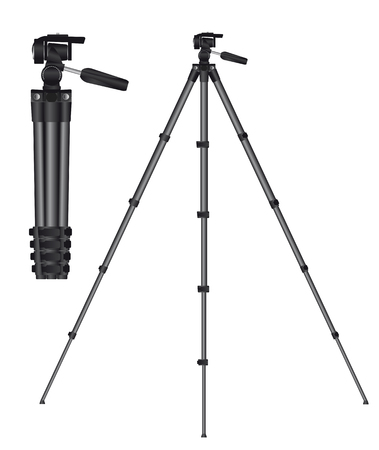 Realistic tripod for photo or movie camera. Vector illustration.