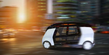 Autonomous self driving smart bus on city street.