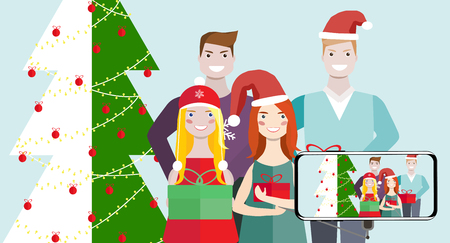 Friends of a woman and a man are standing near to a Christmas tree. Vector illustration.