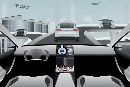 未来的な自己の未来の都市のハイテク道路に車の運転。無人走行車と外の無人偵察機。ベクトル イラスト EPS 10