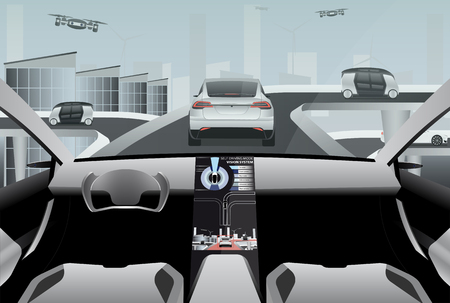 Futuristic self driving car on a high-tech road in the city of the future. Driverless vehicles and drones outside. Vector illustration EPS 10