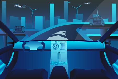 Autonomous self driving car on the road. Future concept. Vector illustration EPS 10 Illustration