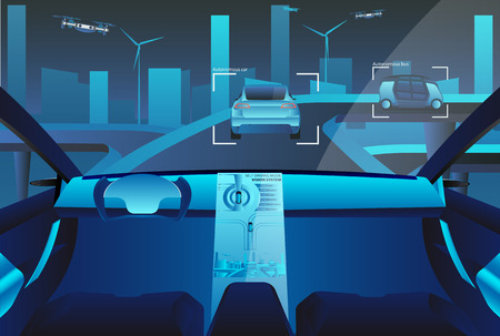 Autonomous self driving car with head up display on the road. Future concept. Vector illustration EPS 10.