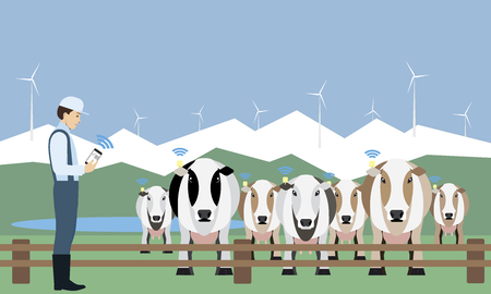Ranch with cows icon.