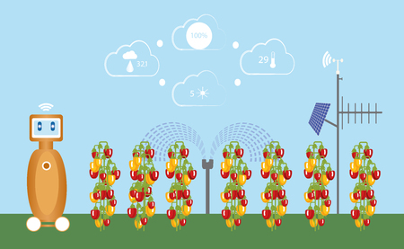 Internet of things in agriculture. Smart farm with wireless control and robot. Vector illustration.